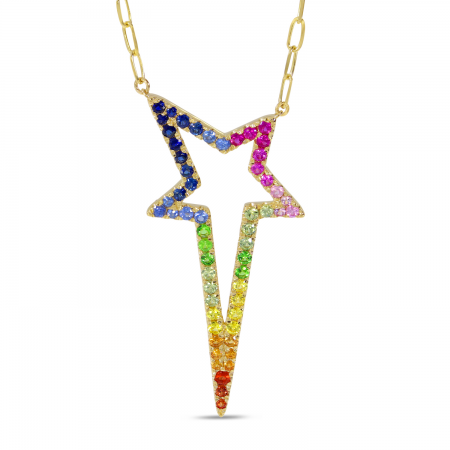 14K Yellow Gold Rainbow Sapphire Starburst Paperclip Chain Necklace