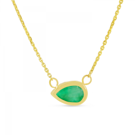 14K Yellow Gold Pear Emerald East 2 West Birthstone Necklace