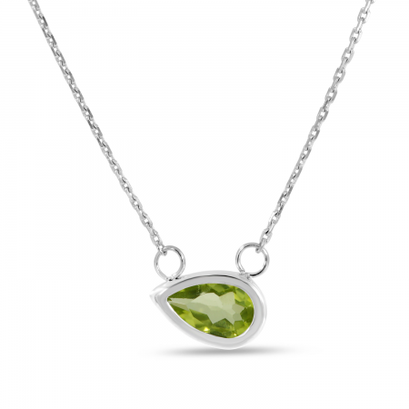 14K White Gold Pear Peridot East 2 West Birthstone Necklace