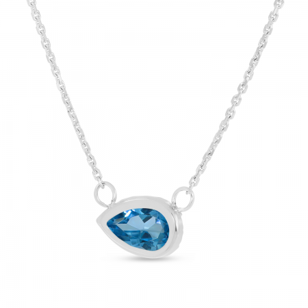 14K Yellow Gold Pear Blue Topaz East 2 West Birthstone Necklace