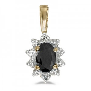 10k Yellow Gold Oval Onyx And Diamond Pendant