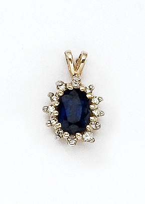 14k Yellow Gold Oval Sapphire Precious and Diamond Pendant