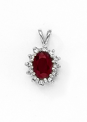 14k White Gold Oval Ruby Precious and Diamond Pendant