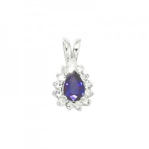 14K White Gold Pear Tanzanite and Diamond Pendant