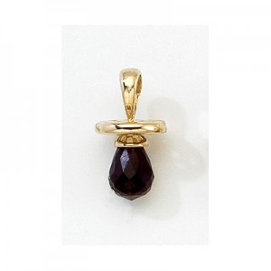 10K Yellow Gold Synthetic Garnet Hushabye Pendant