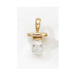 10K Yellow Gold Synthetic White Topaz Hushabye Pendant