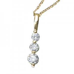 14k Yellow Gold 0.25 Ct Three Stone Diamond Pendant