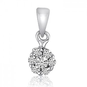 14K White Gold .25 Ct Diamond Cluster Pendant