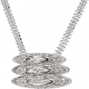 14K White Gold Three Stone Fancy Diamond Fashion Pendant