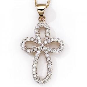 14K Yellow Gold .25 Ct Diamond Cross Pendant