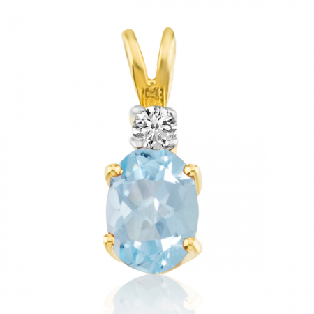 14K Yellow Gold Oval Aquamarine & Diamond Pendant