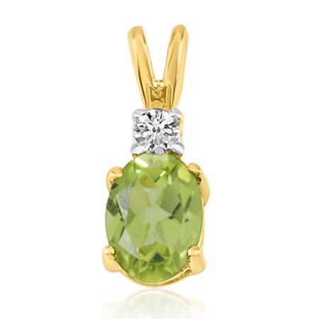 14K Yellow Gold Oval Peridot & Diamond Pendant