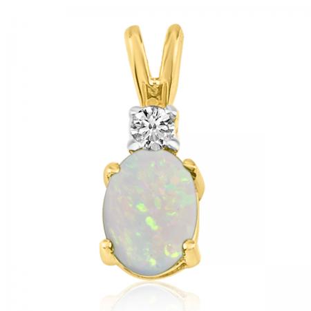 14K Yellow Gold Oval Opal & Diamond Pendant