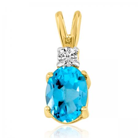 14K Yellow Gold Oval Blue Topaz & Diamond Pendant
