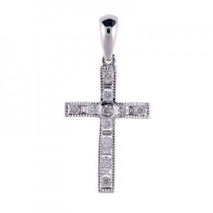 14K White Gold .25 Ct Diamond Cross Pendant