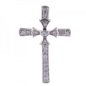 14K White Gold .20 Ct Diamond Byzantine Cross Pendant