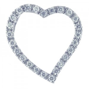 14K White Gold .50 Ct Diamond Heart Pendant