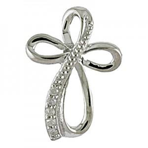 14K White Gold Diamond Cross Fashion Pendant