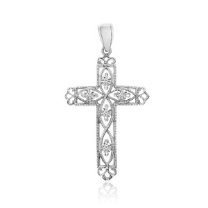 14K White Gold .25 Ct Diamond Filigree Cross Pendant