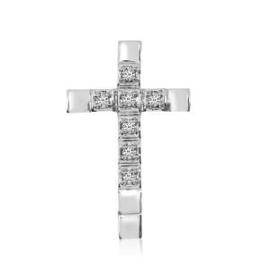 14K White Gold Straight Diamond Cross