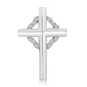 14K White Gold .15 Ct Diamond Cross Pendant