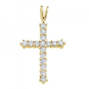 14K Yellow Gold Straight 0.56 Ct Diamond Cross Pendant