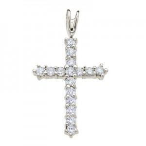14K White Gold Straight 0.56 Ct Diamond Cross Pendant