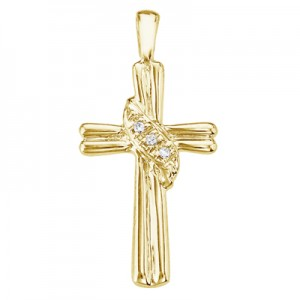 14K Yellow Gold Diamond Fashion Cross Pendant