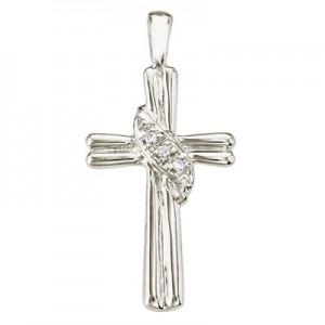 14K White Gold Diamond Fashion Cross Pendant