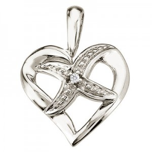 14K White Gold Diamond Fashion Heart Star Pendant