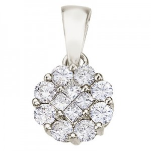 14K White Gold Diamond Clustaire Pendant