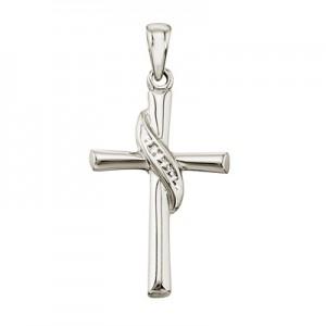 14K White Gold Swirl Cross Pendant
