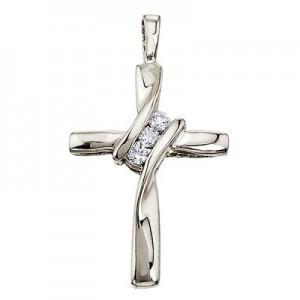 14K White Gold Off Set Diamond Cross Pendant