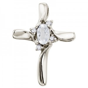 14K White Gold Oval White Topaz and Diamond Cross Pendant