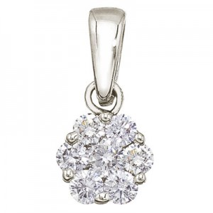 14K White Gold .50 Ct Cluster Diamond Pendant