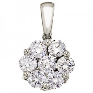 14K White Gold 1 Ct Cluster Diamond Pendant