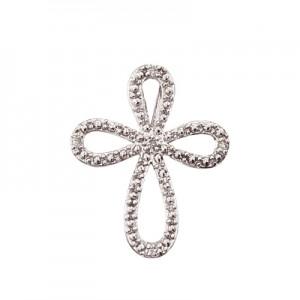 14K White Gold Diamond Open Cross Pendant