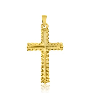 14K Yellow Gold Leaf Gold Cross