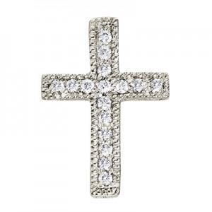 14K White Gold Diamond Scroll Cross Pendant