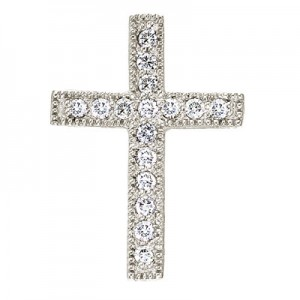 14K White Gold Medium Scroll Diamond Cross Pendant
