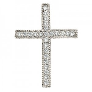 14K White Gold Large Scroll .25 Ct Diamond Cross Pendant