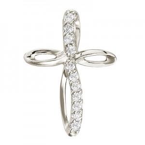 14K White Gold Small Swirl Diamond Cross Pendant