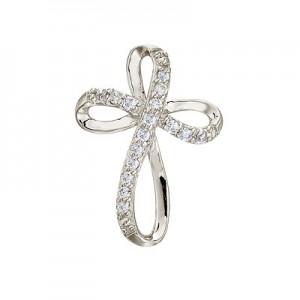 14K White Gold Medium Swirl Diamond Cross Pendant