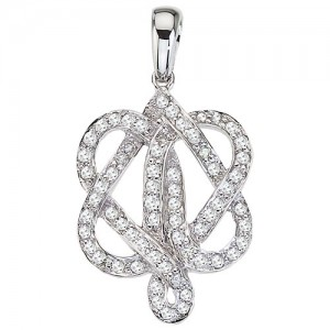 14K White Gold .40 Ct Diamond Double Heart Love Knot Pendant