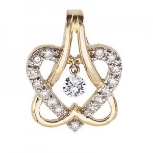 14K Yellow Gold .30 Ct Diamond Double Heart Dashing Diamonds Pendant
