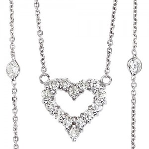 14K White Gold .95 Ct Diamond By The Yard Heart Pendant Necklace
