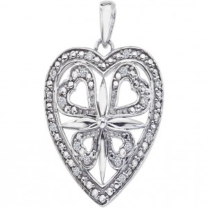 14k White Gold Diamond Heart Fashion Pendant