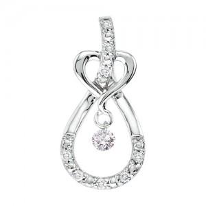14K White Gold .16 Ct Heart Knot Dashing Diamonds Pendant