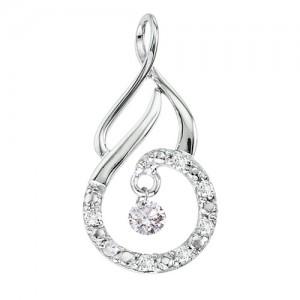 14K White Gold .14 Ct Dashing Diamonds Pendant