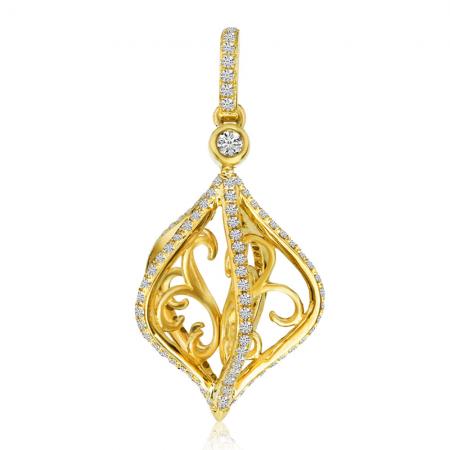14K Yellow Gold Cage Swirl Diamond Fashion Pendant